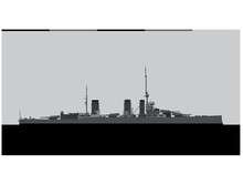 HMS Queen Mary. Royal Navy Battlecruiser. Vector Image For Illustrations And Infographics.