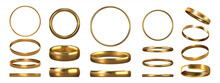 Golden Rings. Realistic Jewelry. View Of Shiny Gold Accessories From Different Sides. Collection Of Glossy Metal Jewels. Isolated Traditional Symbolic Objects For Wedding Ceremonies, Vector Set