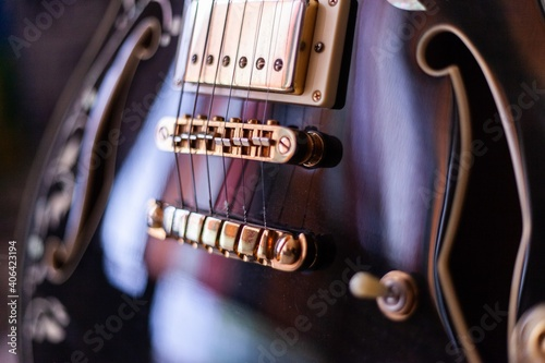 Obraz na plátně close up details of beautiful spanish semi hollow body electric guitar