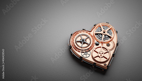 Heart shape clockwork. Gears and cogs mechanism. Valentine's Day