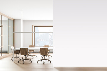 Fototapeta Boks White office meeting room interior with mock up wall