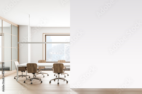 Photo White office meeting room interior with mock up wall