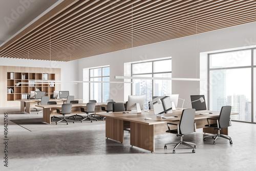 Fototapeta White and wooden open space office corner obraz na płótnie