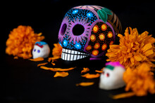 Colorful Skulls And Cempasuchil Flowers (for Day Of The Dead, Mexico)