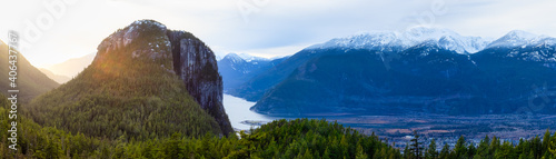 Beautiful Panoramic View of Canadian Mountain Landscape during a sunny sunset. Taken in Squamish, north of Vancouver, British Columbia, Canada. Nature Background Panorama