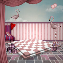 Pink Flamingos On A Surreal Stage With A Chessboard And Gift Boxes