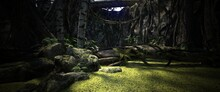 Deep Forest Landscape. Lake With Green Water Plants. Mossy Stones And Fallen Tree. Photorealistic 3D Illustration.