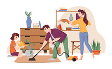 Family Cleans House, Vacuums Carpet By Vacuum Cleaner, Dust Furniture, Takes Care About Flower Pots. Vector Housework And House Chores, Mother, Father And Daughter Tidy Up Flat, Housekeeping