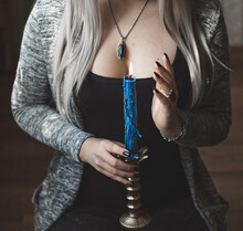 Magical Scene, Esoteric Concept, Fortune Telling And Spell, Tarot Cards And Candle In Woman Hands