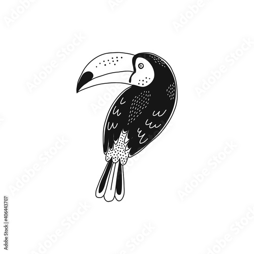 Fototapeta premium Cute decorative toucan isolated illustration . Jungle bird black and white childish graphic drawing Perfect for one colour silk screen printing t-shirt design