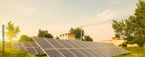 Fotografie, Obraz Solar photovoltaic panels built in rural Asia