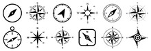 Compass Set Icons, Navigation Equipment Sign, Wind Rose Icon, Compass Symbol Collection – Vector