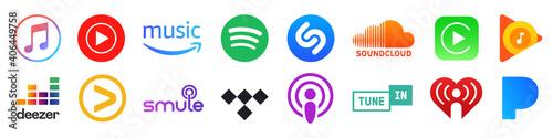 Kiev, Ukraine - January 15, 2021: Popular music streaming service buttons set: Apple music, Spotify, Youtube music, Soundcloud, Deezer, Tidal, Amazon music, Tunein, Google, Iheart. Editorial vector