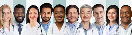 Obraz Collage Of Multiethnic Doctors And Medical Workers Portraits, Gray Backgrounds - fototapety do salonu