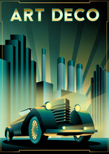 Retro Car Poster With Art Deco Style. Handmade Drawing Vector Illustration.