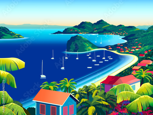 Foto Tropical Island landscape with traditional houses, palm trees, yachts, flowers, islands and the sea in the background