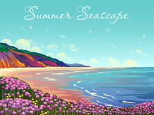 Summer Seascape With Beach, Flowers, Cliffs, Clouds And Sea.