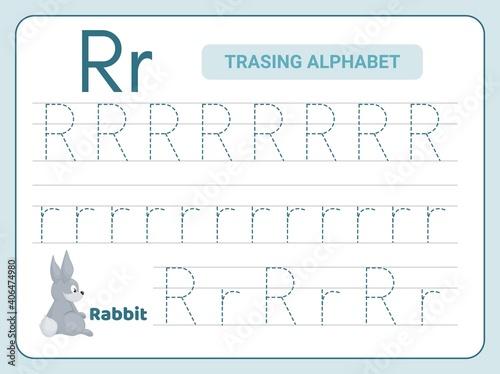 Canvastavla Alphabet tracing practice Letter R