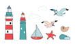 summer sea theme icon set