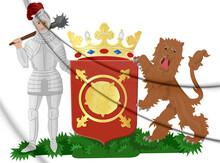 3D Schagen Coat Of Arms (North Holland), Netherlands. 3D Illustration.