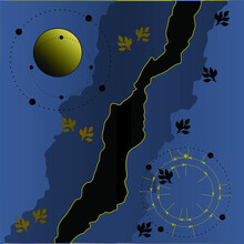 Abstract Map Featuring A Black River With Gray Flood Plain, Embellished With Gold And Black Leaf Pattern, A Pale Yellow Planet And Circular Markings