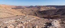 Panorama Of The Karnei Ramon And Mount Arod In The West End Of The Makhtesh Ramon Crater From The Arod Overlook Showing Many Diverse Geological Features
