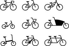 Fahrrad Icon Set, Kontur, Flat Design, Schwarzweiß, Vektor Grafik