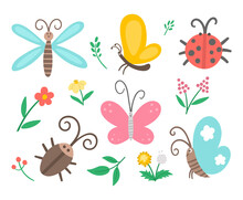 Vector Flat Insect And First Flower Icons Pack. Funny Spring Garden Collection. Cute Ladybug, Butterfly, Beetle, Dandelion Illustration For Kids Isolated On White Background. Bugs And Plants Set.