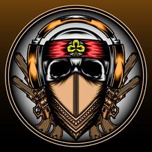 Cool Mafia Skull With Headphone