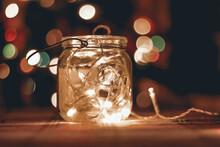 Transparent Jar With Led Lights Inside . Home Decoration