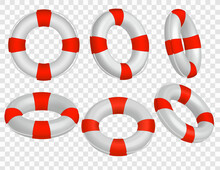 Set Of 6 Realistic Red And White Life Buoy Icons