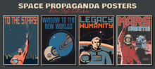 Space Propaganda Posters, Retro Style Collection, Astronauts And Space Ships, Mars, Saturn, Earth Retro Future Technologies