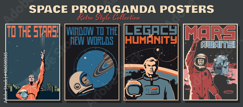 Photo Space Propaganda Posters, Retro Style Collection, Astronauts and Space Ships, Ma