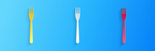 Paper Cut Fork Icon Isolated On Blue Background. Paper Art Style. Vector.