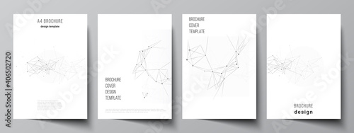 Vector layout of A4 cover mockups templates for brochure, flyer layout, booklet, cover design, book design, brochure cover. Gray technology background with connecting lines and dots. Network concept.