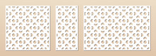 Laser Cut Panel Set. Vector Template With Geometric Pattern In Oriental Style, Floral Ornament, Grid, Mesh. Decorative Stencil For Laser Cutting Of Wood, Metal, Plastic. Aspect Ratio 1:1, 1:2, 3:2