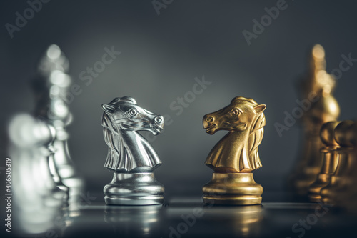 Leinwand Poster chess board game for ideas and competition and strategy