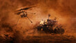 canvas print picture - Mars rover and helicopter drone exploring surface of Mars. Image of automated robotic space autonomous vehicle on the red Mars planet. Universe, space exploration, astronomy science concept. 3D render