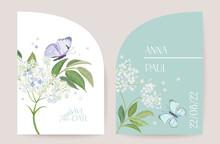 Modern Minimal Art Deco Wedding Vector Invitation Set. Boho White Elderflower And Butterfly Card Template