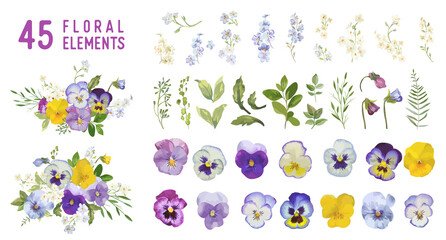 Vintage pansy flowers and leaves, spring violet florals in watercolor style. Vector summer garden design