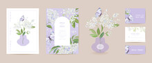 Watercolor Elderberry And Butterfly Floral Wedding Card. Vector White Spring Flowers Invitation