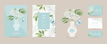 Wedding Elderberry And Butterfly Floral Save The Date Set. Vector White Spring Flowers Boho Invitation Card