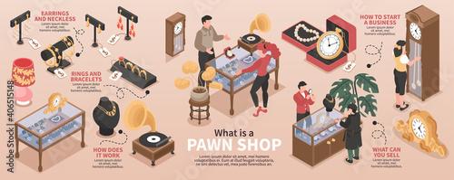 Pawn Shop Isometric Infographics
