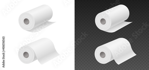 Fototapeta Rolling paper towels mockup isolated on white and black background. Household objects obraz