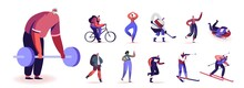Set Of People Engage Sports Activity. Male Or Female Young And Mature Characters Training In Gym With Weight, Skiing