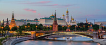 The Moskva River With Long Exposure Near The Kremlin In The Evening In Moscow, Russia