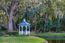White Gazebo Under Spanish Moss In A Southern Park