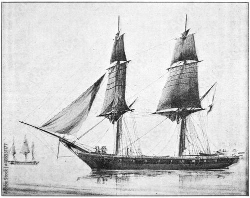 Vászonkép Mercure (1842) - a 18-gun brig, of the French Navy