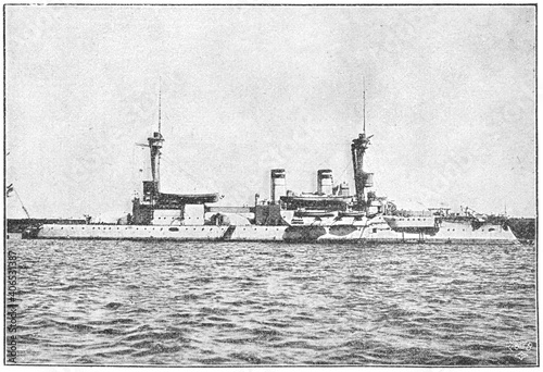 SMS Brandenburg (1891) - the lead ship of the Brandenburg-class pre-dreadnought battleships, built for the German Kaiserliche Marine Fotobehang