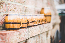 Closeup Shot Of Beer Cups On A Ledge